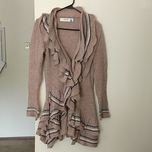 Anthro sparrow ruffle cardigan